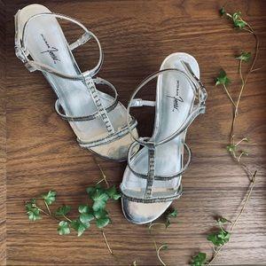 Silver Beaded Formal Heels